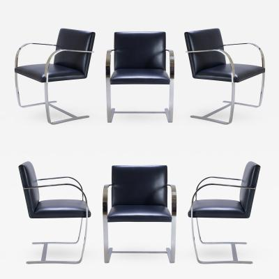 Ludwig Mies Van Der Rohe Brno Flat Bar Chairs in Original Navy Leather Set of 6