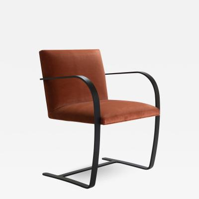 Ludwig Mies Van Der Rohe Brno Flat Bar Chairs in Rust Velvet Obsidian Matte Frame