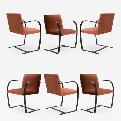 Ludwig Mies Van Der Rohe Brno Flat Bar Chairs in Rust Velvet Obsidian Matte Frame Set of 6