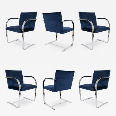 Ludwig Mies Van Der Rohe Brno Flat Bar Navy Velvet Chairs Set of 6