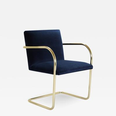 Ludwig Mies Van Der Rohe Brno Tubular Chairs in Navy Velvet Polished Brass