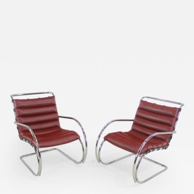 Ludwig Mies Van Der Rohe Classic Mid Century Modern Chrome Leather Lounge Chairs by Mies Van Der Rohe