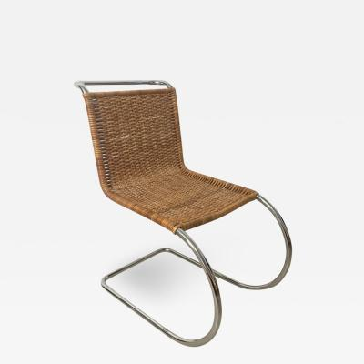 Ludwig Mies Van Der Rohe Early Mies Van Der Rohe MR 10 Chair in Wicker and Chrome Steel Italy 1950s