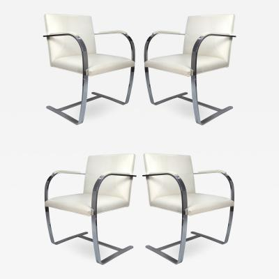Ludwig Mies Van Der Rohe Mies Van Der Rohe Knoll Flat Bar Brno Chairs Eggshell White Leather Set of 4