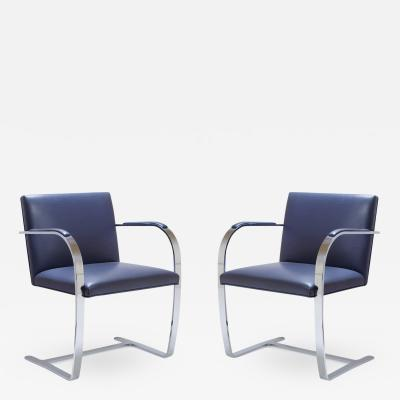 Ludwig Mies Van Der Rohe Mies Van Der Rohe for Knoll Brno Flat Bar Chairs in Navy Leather Pair