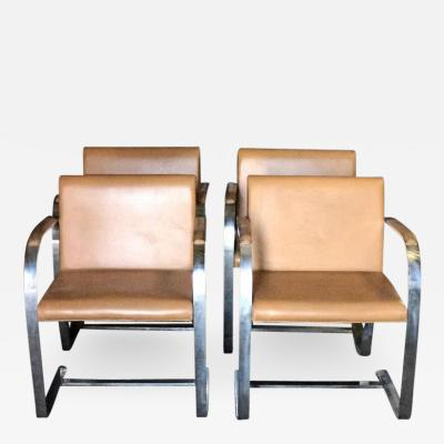 Ludwig Mies Van Der Rohe Mies Van Der Rohe for Knoll Studio Brno Flat Bar Lounge Armchair in Leather