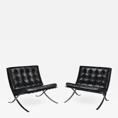Ludwig Mies Van Der Rohe Pair of Barcelona Chairs by Mies Van Der Rohe for Knoll International USA 1970