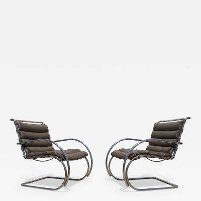 Ludwig Mies Van Der Rohe Pair of Brown Leather MR Lounge Armchairs by Mies van der Rohe for Knoll