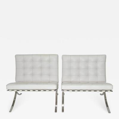 Ludwig Mies Van Der Rohe Pair of Knoll Barcelona Lounge Chairs in white Sabrina leather c 1997