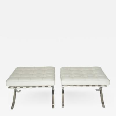 Ludwig Mies Van Der Rohe Pair of Knoll Barcelona Stools in white Sabrina leather c 1997