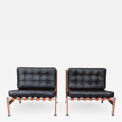 Ludwig Mies Van Der Rohe Pair of Mid Century Mexican Modernist Lounge Chairs Barcelona Style