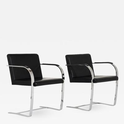 Ludwig Mies Van Der Rohe Pair of Mid Century Modern Mies Van Der Rohe Flatbar Brno Chairs