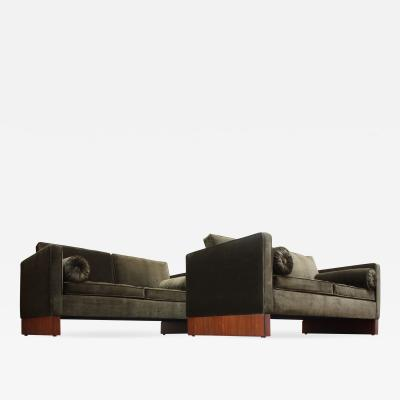 Ludwig Mies Van Der Rohe Pair of Mies van der Rohe Settees in Velvet and Teak