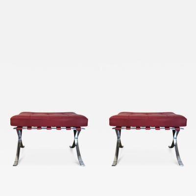 Ludwig Mies Van Der Rohe Pair of Red Leather Ottomans by Mies Van Der Rohe for Knoll