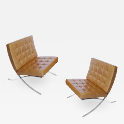 Ludwig Mies Van Der Rohe Pair of Stainless Barcelona Chairs in Tan Leather by Mies Van Der Rohe for Knoll