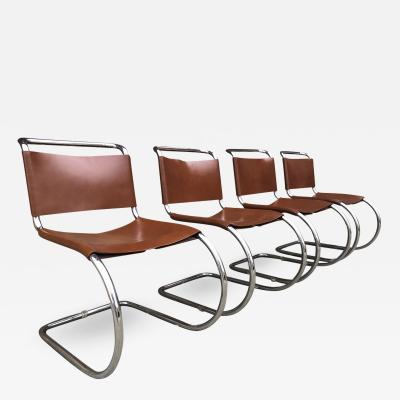Ludwig Mies Van Der Rohe Set of 4 Mies van der Rohe Leather MR10 Cantilever Chairs for Knoll Intl