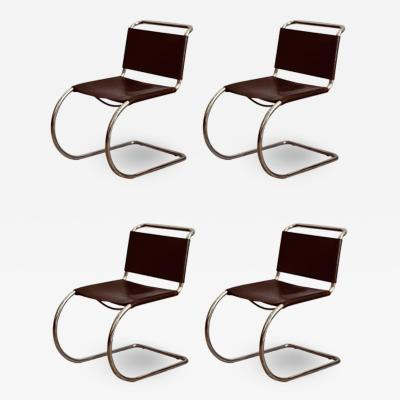 Ludwig Mies Van Der Rohe Set of Four Classic Thick Leather and Chrome MR Chairs by Mies van der Rohe