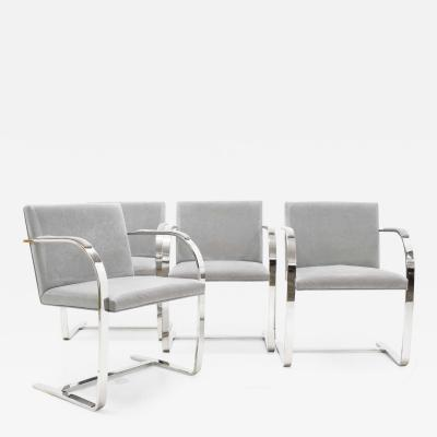 Ludwig Mies Van Der Rohe Set of Four Gray Suede Mies van der Rohe Brno Chairs
