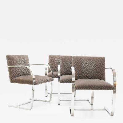 Ludwig Mies Van Der Rohe Set of Four Mies van der Rohe Brno Chairs in Mohair