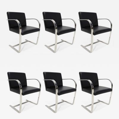 Ludwig Mies Van Der Rohe Set of Six Brno Chairs in Black Faux Leather