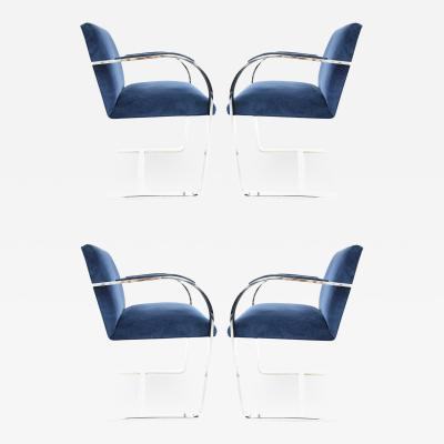 Ludwig Mies Van Der Rohe Stainless Steel Flatbar Brno Chairs by Knoll in Blue Velvet