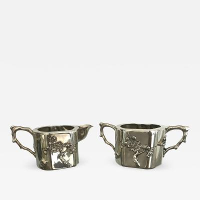 Luen Wo Chinese Export Sterling Silver Creamer and Sugar