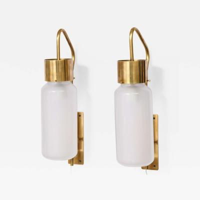 Luigi Caccia Dominioni A pair Set of four LP 10 Azucena brass and opaline glass wall sconces