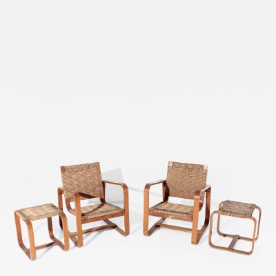 Luigi Caccia Dominioni Giuseppe Pagano e Gino Maggioni Set of MidCentury armchairs and ottoman 1941s