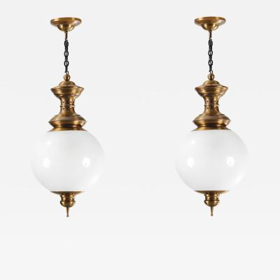 Luigi Caccia Dominioni Luigi Caccia Dominioni splendid pair of ceiling lamps in brass and blown glass