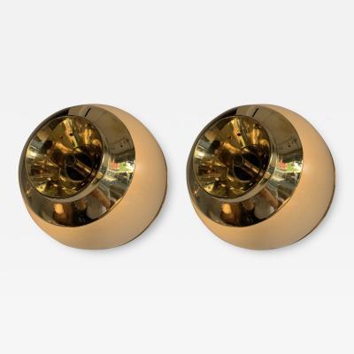 Luigi Caccia Dominioni Pair of Brass and Glass Azucena Sconces by Luigi Caccia Dominioni Italy 1970s