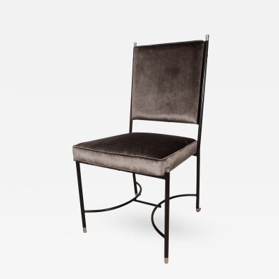 Luigi Caccia Dominioni Upholstered Desk Chair with Stylized Blackened Frame by Luigi Caccia Dominioni