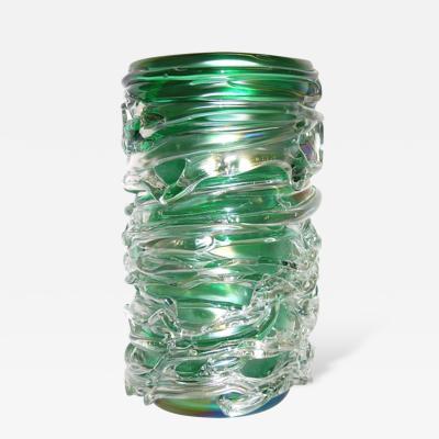 Luigi Camozzo Camozzo Tall Modern Emerald Green Iridescent Murano Glass Vase