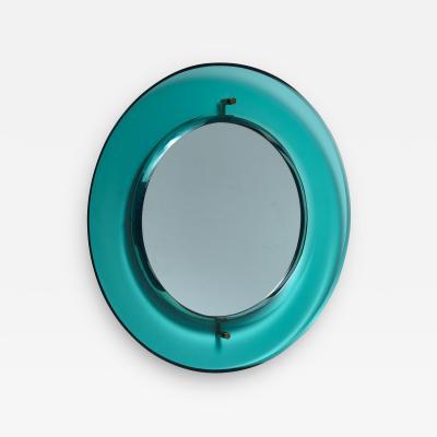 Luigi Fontana Early Luigi Fontana for Fontanit glass mirror in green blue Italy 1950s