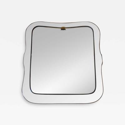 Luigi Fontana Mid Century Modern Mirror with Transparent Shaped Glass Frame Brass L Fontana