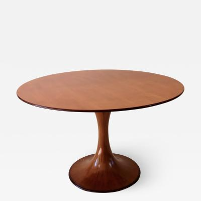 Luigi Massoni Elegant Walnut Round Center Dining Table Clessidra by Luigi Massoni 1959