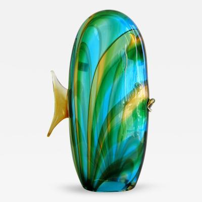 Luigi Mellara Tall Blue and Green Murano Glass Fish by Luigi Mellara