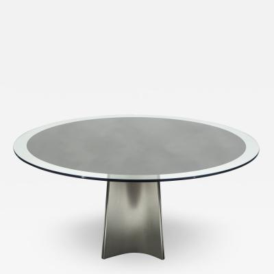 Luigi Saccardo Luigi Saccardo for Maison Jansen brushed steel glass dining table 1970s