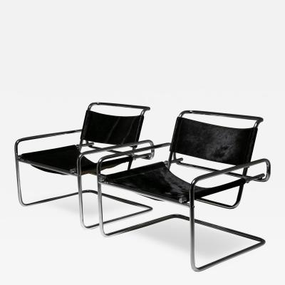 Luigi Saccardo Pair of Cantilever Steel chairs by Luigi Saccardo for Arrmet