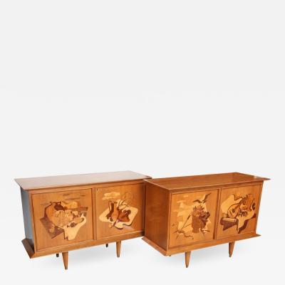 Luigi Scremin Fine Pair of Walnut and Inlaid Wood Two Door Credenza Luigi Scremin