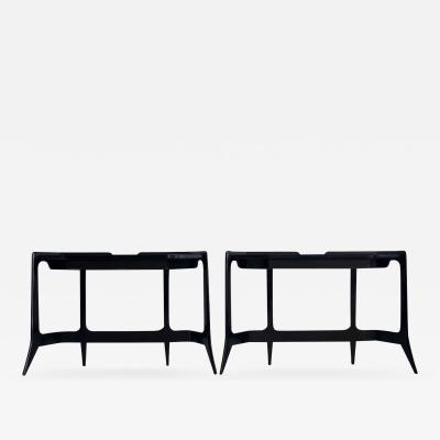 Luigi Scremin Luigi Scremin Black Lacquered Wood Console Table