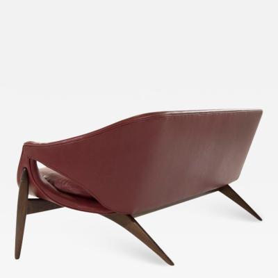 Luigi Tiengo Exceptional Sofa in Chianti Leather by Luigi Tiengo for Cimon Montr al 1963