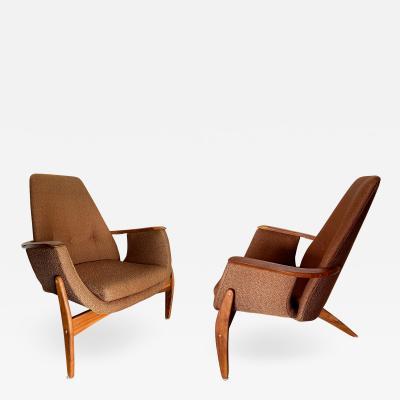 Luigi Tiengo Rare Italian Modern Walnut 3 Leg Lounge Chair Luigi Tiengo for Cimon