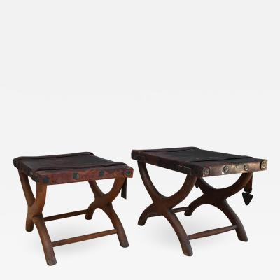 Luis Barragan 1940s Rustic Spanish Colonial Curule Bench Leather Seat Straps Set of 2 Stools