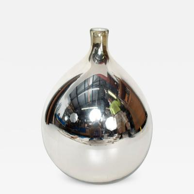 Luis Barragan Mexican Modernist Mid Century Large Mercury Glass Bottle in Silver