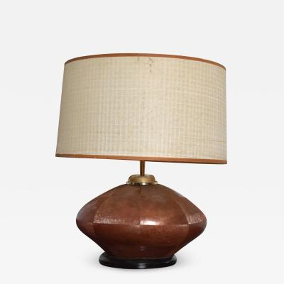 Luis Barragan Midcentury Modernism Oval Table Lamp Texturized Brass Copper 1970s Mexico