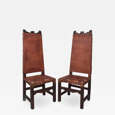 Luis Barragan Pair of SPANISH Colonial Tall Chairs Woven Saddle Leather Nail Head Wood style