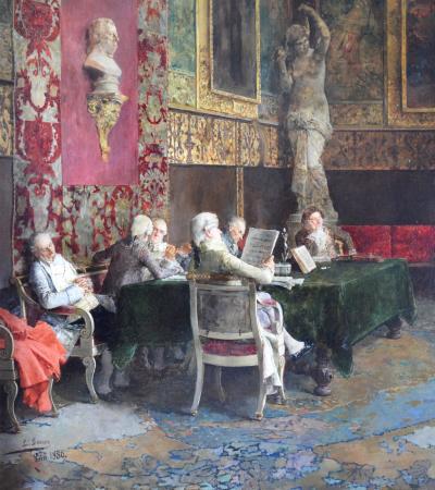 Luis Jimenez Aranda Le Concours de Violon Large 19th Century Oil Painting of Classical Concert