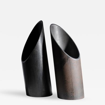 Lukas Friedrich Pair of Steel Sculpted Vases Signed by Lukas Friedrich