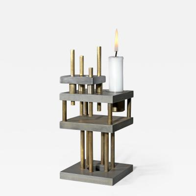 Lukas Friedrich Unique Steel and Brass Candleholder Brut Signed by Lukas Friedrich