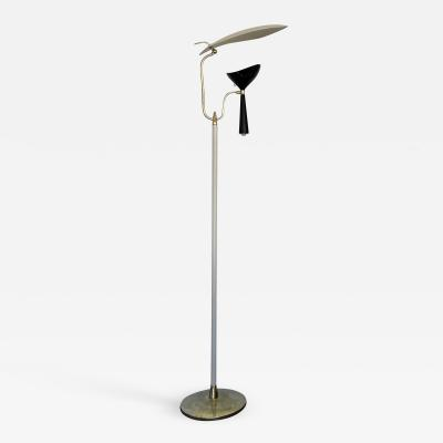 Lumen Milano Italian Mid Century Modern Metal and Brass Floor Lamp by Lumen 1950s